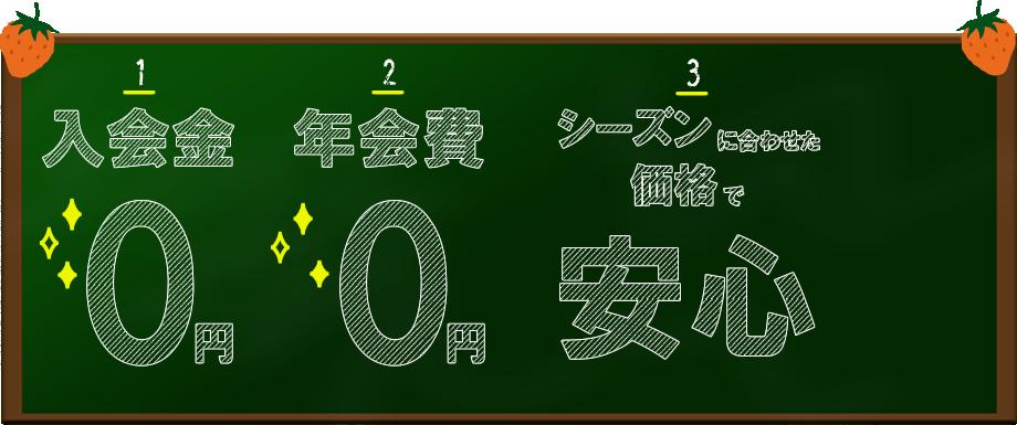 入会金0円、年会費0円、シーズンに合わせた価格で安心